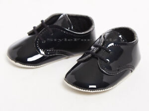 897a364494c5 BABY BOYS SHOES BLACK PATENT CHRISTENING WEDDING PARTY OCCASION PRAM ...