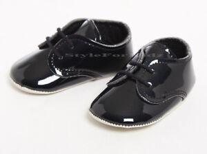 Bautizo Del Bebé Niños Zapatos Negro Patente/boda/fiesta/ocasión Cochecito de Niño Zapatos