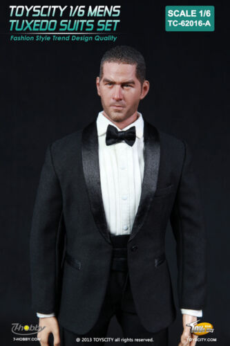 """Toys City 1//6th 62016-A Black Color Male Fashion Formal Tuxedo Suits F 12/"""" Toys"""
