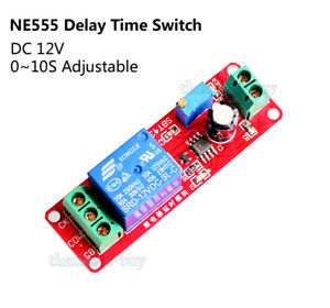 DC-12V-Relay-Module-Adjustable-Delay-Time-Switch-0-10-Second-NE555-Timer-Board