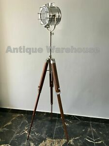 Modern Designer Nautical Floor Lamp With Tripod Wooden Stand