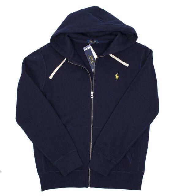 272c4222 Polo Ralph Lauren Navy Blue Hoodie Full Zip Sweatshirt Yellow Pony M