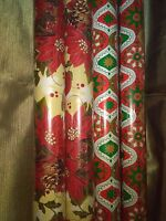Gift Wrapping Paper Rolls-poinsettia Arrangement, Abstract Designs-set Of 4