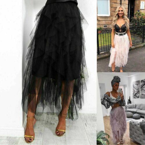 Womens Ladies High Waisted Elasticated Ruffle Frill Mesh Flared Puff Midi Skirt