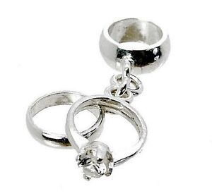 STERLING SILVER WEDDING & ENGAGEMENT RINGS CHARM BEAD DANGLE