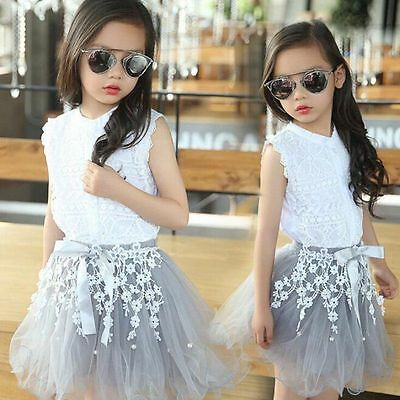 Newborn Girl Clothes 2Pcs Crop Tops T-Shirt Tulle Skirt Lace Bodysuit Baby Girl Outfits Summer Clothes