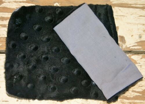 infant//toddler seat strap covers in gsay cotton with black minky