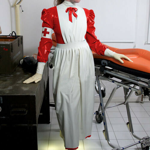 Doctor Cosplay Cool Latex Catsuit Rubber Ruffle&Bow Long Full Uniform Größe S-XXL