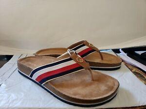 Tommy-Hilfiger-Blue-Red-White-Textile-Strap-Logo-Footbed-Sandals-Size-9-5