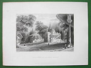 CONSTANTINOPLE-Third-Court-of-Serai-Bournou-BARTLETT-Antique-Print