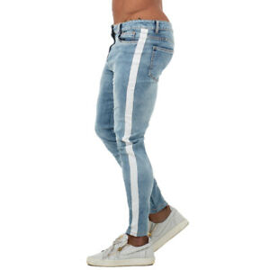 GINGTTO Men Skinny Jeans Washed Blue Classic Stretch Slim Fit Basic Denim Pants | eBay