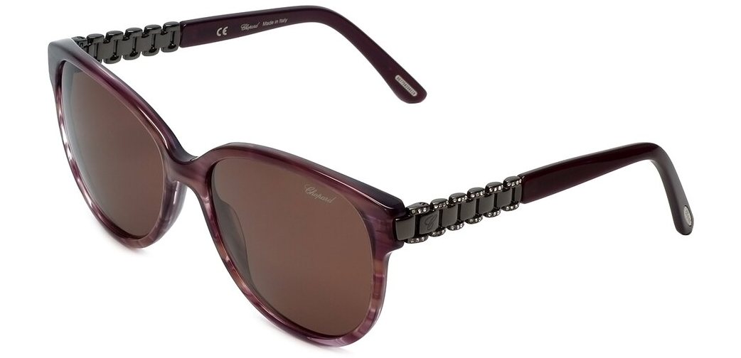 Chopard Sunglasses SCH 150S 06XD 57-17-135 Striped Violet / Brown Made in Italy