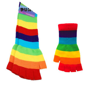 Rainbow Gloves Arm Warmers Winter Wear Hand Warmer Knitted Comfortable Color