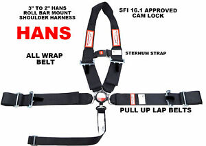 """CLIP IN SAFETY RACING HARNESS 5 POINT ROLL BAR MOUNT 3/"""" CAM LOCK SFI 16.1 BLACK"""