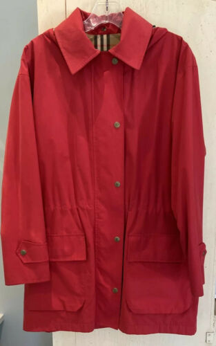 Burberry London Red Trench Rain Coat Removable Hoo