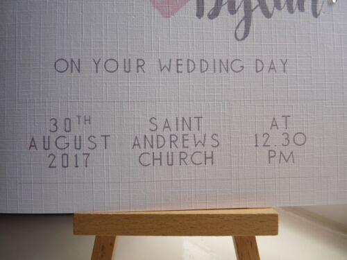 """Handmade Personnalisé sur le jour de votre mariage carte /""""Aquarelle heart/"""""""