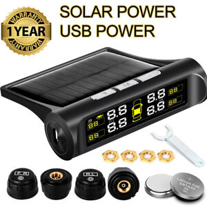 Wireless-Solar-TPMS-LCD-Car-Tire-Pressure-Monitoring-System-4-External-Sensors