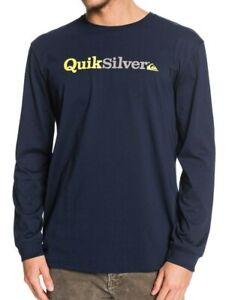 QUIKSILVER-Mens-T-Shirt-Nouvelle-Fraction-d-039-esprit-bleu-marine-en-coton-a-manches-longues-Top-9