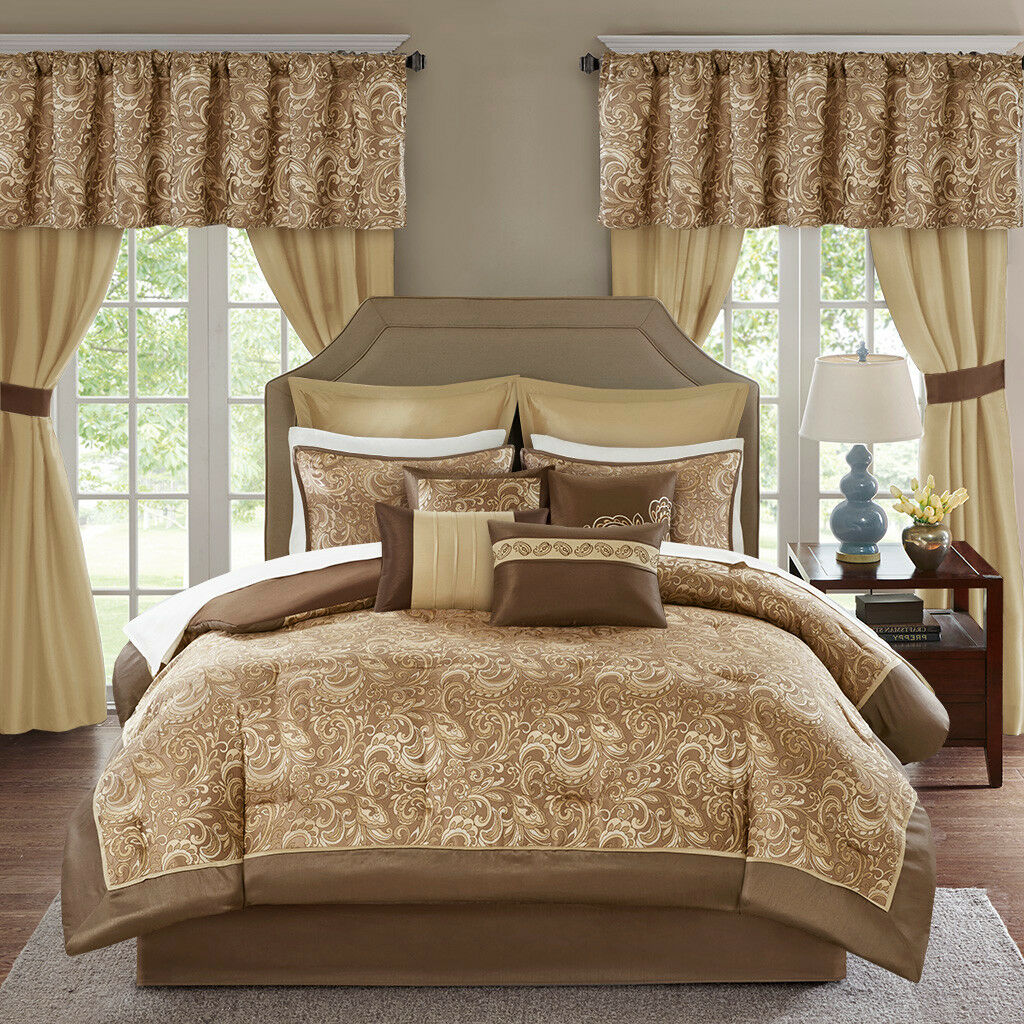 Deluxe Silky Gold braun Paisley Comforter Curtain 24 pcs Set Cal King Queen New