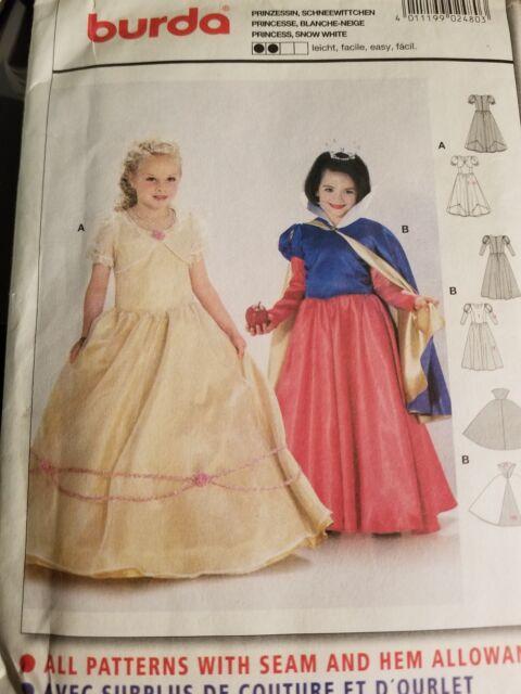Burda Sewing Pattern Girls Princess Snow White Costume Size 4 9