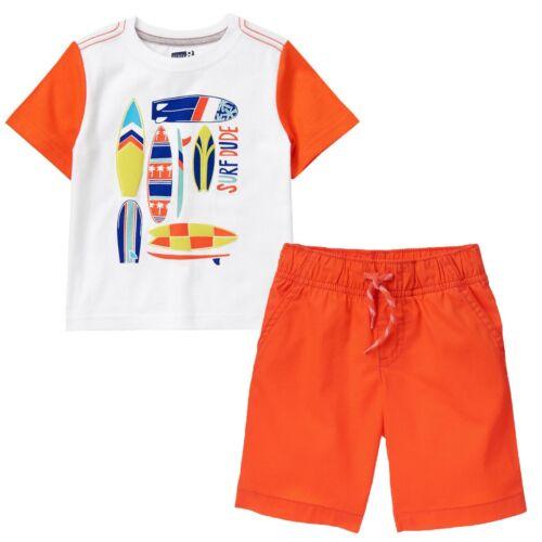 NWT Crazy 8 Boys Size 4T 5T Surfboard Tee Shirt /& Orange Pull-On Shorts 2-PC Set