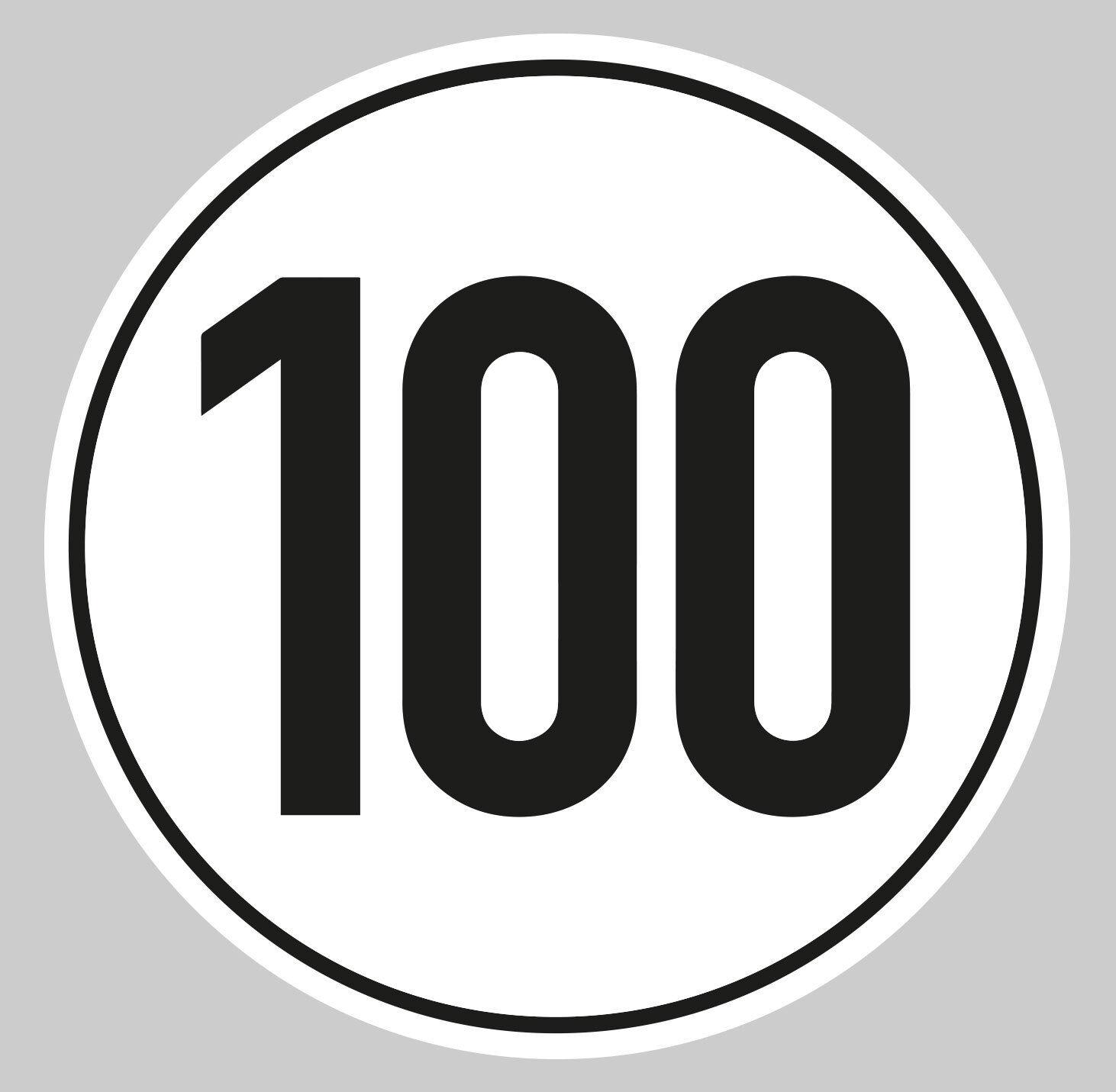 Aufkleber 100 kmh für Anhänger Mofa Wohnmobil Trailer Vespa 10cm Wetterfest