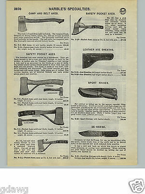1932 Paper Ad Marble S Camp Hunting Pocket Axe Axes Sport