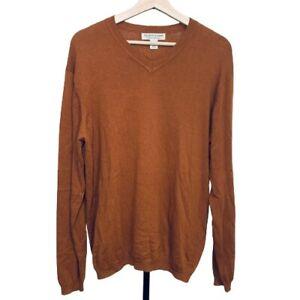 Pronto-Uomo-Cotton-Cashmere-Sweater-Size-M-Men-039-s-Long-Sleeve-V-neck-Brown