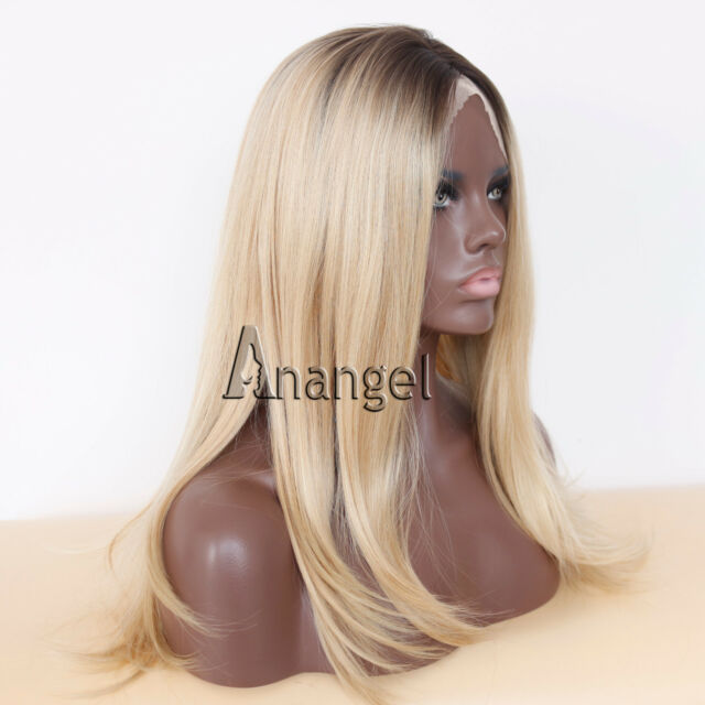 Fashion Synthetic Hair Short Ombre Brown To Blonde Heat Resistant Lace Front Wig