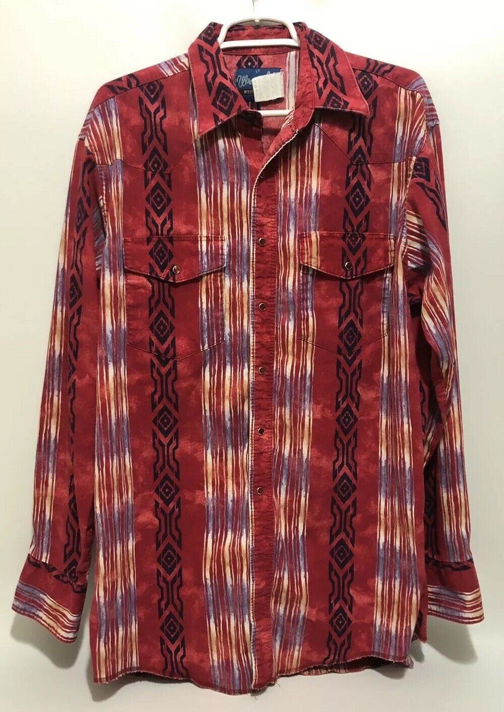 Vtg Wrangler Men's Native Southwest Print Western Shirt Pearl Snap Red Aztec
