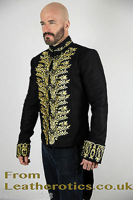 Mens GOLD tailcoat Victorian jacket top Steampunk VTG vintage Black cotton STP7