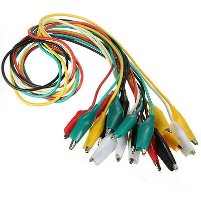 20pcs Double-ended Test Leads Alligator Crocodile Roach Clip Jumper Cable Wire