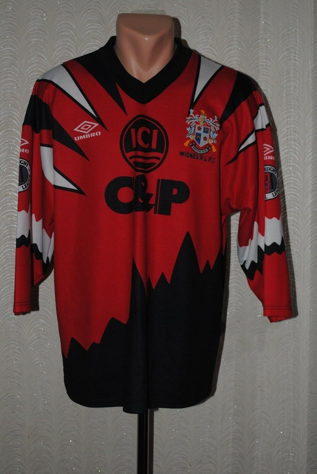 Shirt Umbro Rugby Jersey WIDNES RLFC RUFC size L Original Vintage