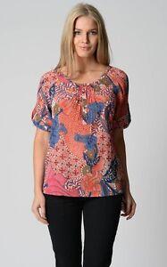 Millers-Ladies-Short-Sleeve-Sienna-Print-Top-size-16-Multi-Colour-Print