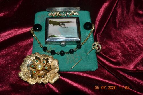 Lot of Vintage Jewelry + Compact-Niagra Falls, Sar