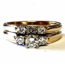 14k yellow gold .64ct round diamond 3-stone engagement ring wedding band 6g