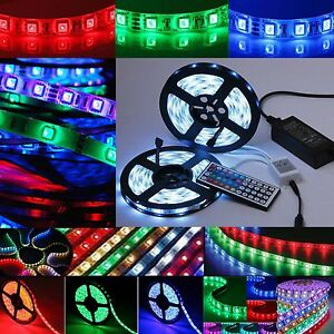 led stripe 5050 smd rgb leiste streifen band lichtband fernbedienung netzteil ebay. Black Bedroom Furniture Sets. Home Design Ideas
