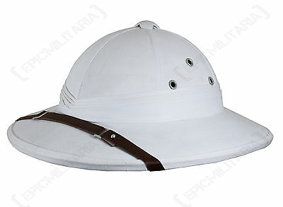 French Army WHITE TROPICAL PITH HELMET Colonial Explorer Adventurer Costume Hat