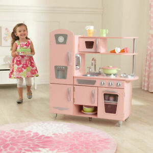 Details about KidKraft Pink Vintage Play Kitchen Set Kids Girl Toy Gift