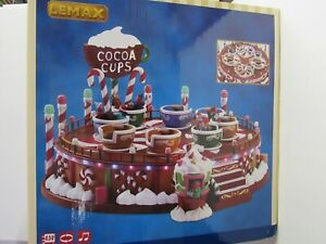 New Lemax Cocoa Cups 74222 MIB Rotates With Sound