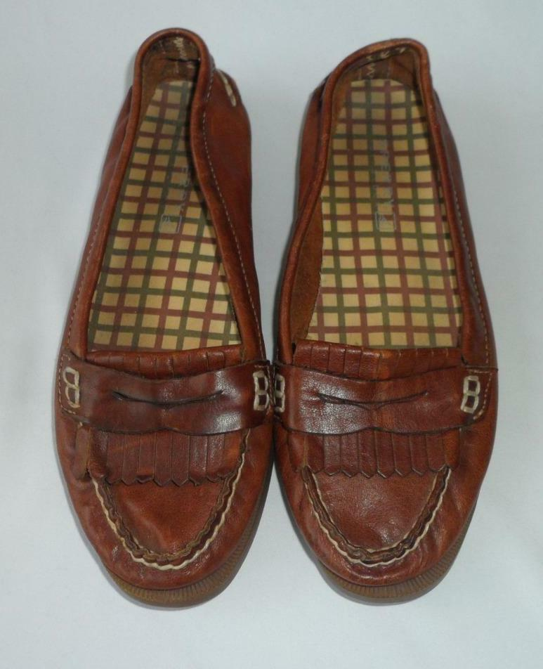 Womens Sperry Loafers 6.5 Leather Brown Slip On Avery Boat Kiltie Flats