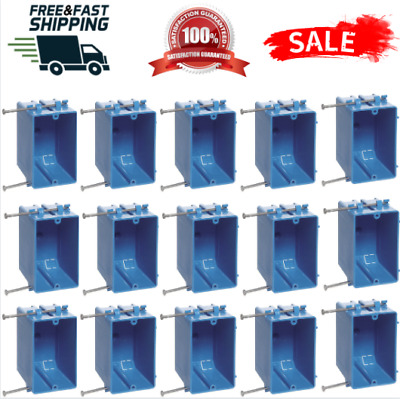 """15 Pack 18/"""" 1-Gang Single Wall Outlet Switch Electrical Box Plastic Interior"""