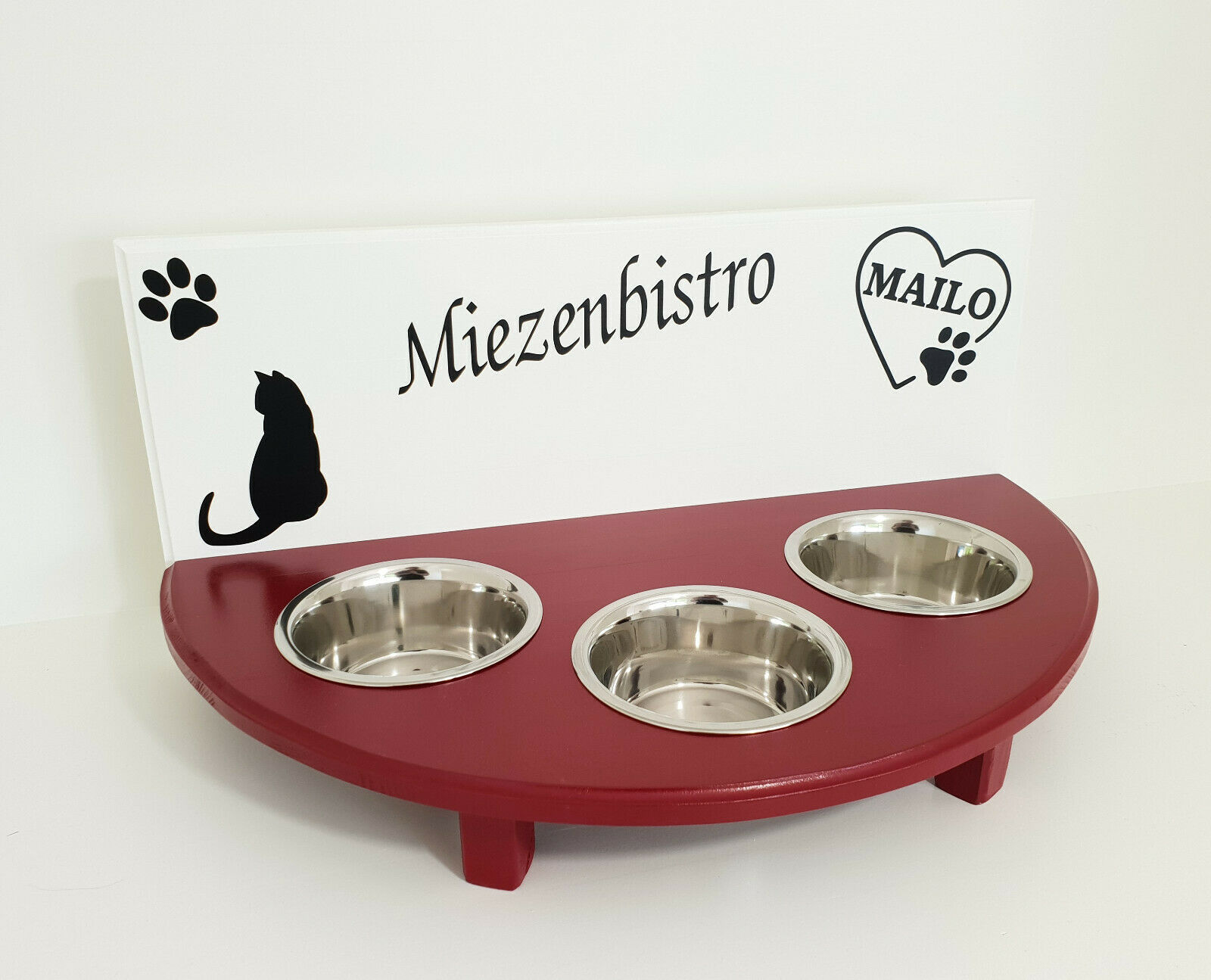 Handarbeit für Ihre Katze  Napfbar, Futterbar, 3 Näpfe, weiß  rot (74u)