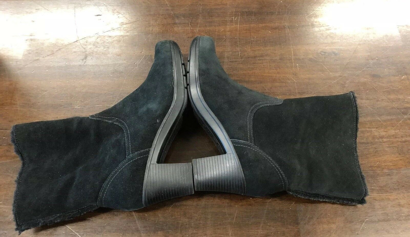 CLARKS Bendables Black Leather Zip Ankle Boots Womens 8 M M M Lined Block Heel 39384 1c365c