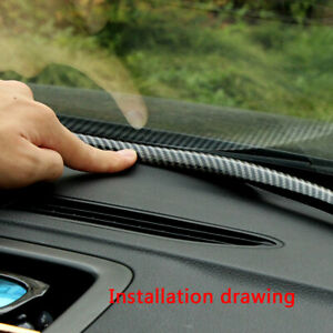 1Pc 1.6M Rubber Carbon Fiber Car Dashboard Gap Filling Sealing Strip Accessories