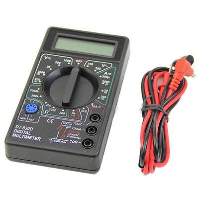 Pocket Digital Multimeter Ohm Voltmeter Ammeter AVO Meter DT830D Test Leads LCD