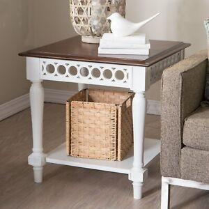 Farmhouse End Side Table Shelf Storage Country Cottage Wood White Walnut Finish Ebay