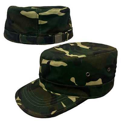 Forest Camo Plain Solid Blank Military Flat Cadet Castro Patrol Fitted Cap Hat