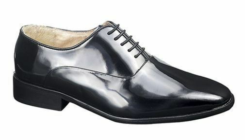 SIZE 8 9 10 11 12  Herren PLAIN BLACK SHINY PATENT LEATHER SOLE DANCING DANCE Schuhe