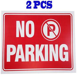 "2 Pcs  "" No Parking "" 9"" x 12"" Red & White Flexible Plastic Sign BAZIC S-14"